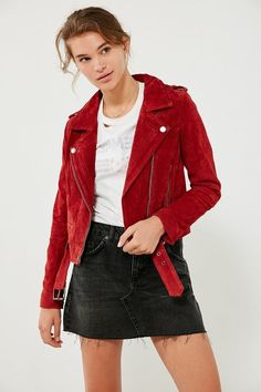 Red Suede Jacket, Leather Jacket Outfits, Leather Jackets, Red Jackets, Outerwear Jackets, Blank Nyc, Couture, Coats For Women, Clothes