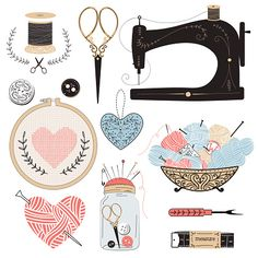 Vintage vector tailor's tools - scissors, measuring tape, mannequin, tambour, balls of yarn etc. Embroidery Patterns, Cross Stitch Patterns, Sewing Machine Drawing, Indian Wedding Photography Poses, Homemade Stickers, Shop Logo, Pencil Illustration, Free Vector Art, Tape Measure