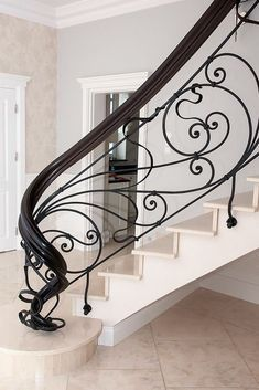 0533 334 67 82 wrought iron railing doors # apartment doors # wrought iron balconies railing # garage doors # garden gates Source by Metal Stair Railing, Staircase Railing Design, Home Stairs Design, Curved Staircase, Balcony Railing, Interior Stairs, Banisters, Wrought Iron Staircase, Balcony Chairs
