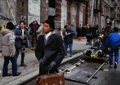 """vintage everyday: Rare Behind the Scenes Photos of Michael Jackson While Filming the Music Video """"Bad"""" in Brooklyn, 1986 Mj Bad, Michael Jackson Bad Era, Places In New York, Trinidad James, Famous Musicians, Big Sean, Pharrell Williams, American Singers, Behind The Scenes"""
