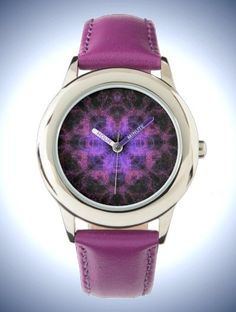 Kid's Stainless Steel Purple Leather Strap Watch with Digital Art: Geometric Purple Pattern