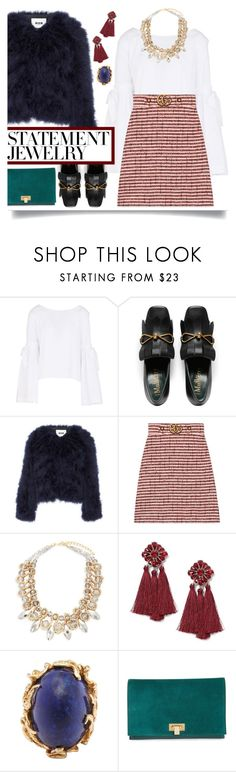 """""""#PolyPresents: Statement Jewelry"""" by emyemoemu on Polyvore featuring Free People, MSGM, Gucci, Saks Fifth Avenue, Miss Selfridge, Tory Burch, contestentry and polyPresents"""
