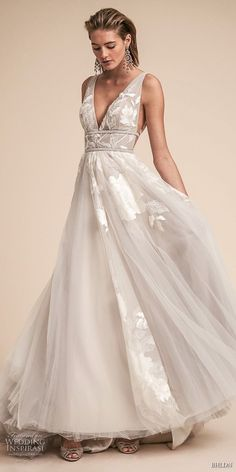 Meilleurs robes de mariages bhldn abilene gown a line wedding bhldn spring 2018 bridal sleeveless deep v neck light embellished bodice side open romantic soft gray junglespirit Images