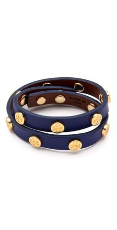 Tory Burch Logo studded wrap bracelet $95 #fashion #accessories #jewelry #bracelet #blue #gold #leather #logo #studs #wrap #style #stylish #chic #gift #elegant