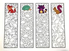Cute Animal Bookmarks PDF Zentangle Coloring Page with foxes, hedgehogs, raccoons, and squirrelsSix Adorable Animal Bookmarks! – Printable Coloring Pages – Scribble & StitchCute Animal Bookmarks – Male the bookmarks to take notes!Make reading j Animal Coloring Pages, Free Coloring Pages, Printable Coloring Pages, Coloring Sheets, Adult Coloring, Coloring Books, Free Printable Bookmarks, Cute Animals, Paper Crafts