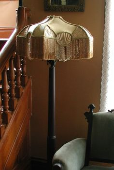 Elegant Victorian Lampshade in Gold Silk Victorian Rooms, Victorian Lamps, Victorian Furniture, Lampshade Redo, Lampshades, Lampshade Ideas, Pink Lamp Shade, Antique Floor Lamps, Custom Lamp Shades