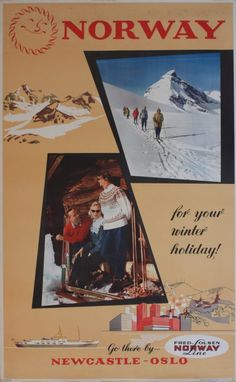 Norway for Your Winter holiday Go there by Newcastle-Oslo Fred Olsen Lines Print: Pedersen 1958