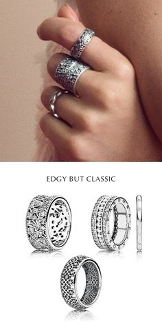 Edgy but classic! Layer up on lace, leaves and lattice patterns with this ring…