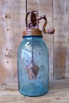 Antique 1/2 Gal Blue Glass Mason Fruit Jar W/ Butter Churn Top Vtg Prim Decor