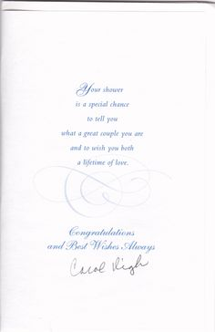 What to write in a bridal shower card sayings pinterest bridal bridal shower card from carol m4hsunfo