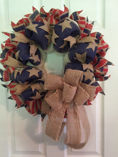 Patriotic Wreath, Americana Wreath, Fourth of July Wreath, 4th of July Wreath, Burlap Wreath, Wreath, Stars ans Stripes Wreath, USA by RoesWreaths on Etsy https://www.etsy.com/listing/237066431/patriotic-wreath-americana-wreath-fourth