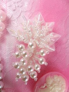 FS2541 Crystal AB Pearl Leaf Cluster Beaded Applique 2""