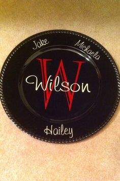 Custom Monogrammed Plate Charger by WordsByWilson on Etsy, $10.00
