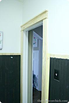 DIY craftsman trim around door. Use this trim around sliding glass doors in dining room and living room