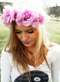 Boho Pastel Flower Crown Lilac Lana Del Rey Inspired Floral Headband Coachella Accessories Women's Rose Flower Head Wear Tumblr Fashion $10 Made by The Bohipstian on Etsy!
