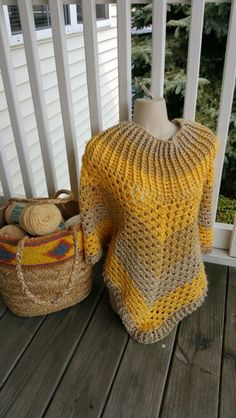 Hot Off My Hook! Project: Cowl-Neck Poncho Started: 24 Aug 2015  Completed: 26 Aug 2015 Model: Madge the Mannequin Crochet Hook(s): 7mm Yarn: Caron Simply Soft Color(s): Bone, Autumn Maize, Sunshine Pattern Source: Simply Crochet Magazine Issue No. 25 Pattern Designed By: Simone Francis Notes: This is my 22cd Cowl-Neck Poncho! My 2cd made from scrap yarn. This is the 1st time I've used Caron Simply Soft. Yellow is my favorite color!