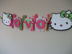 Cute Hello Kitty Banner~~~love it! I'm going to make one for Bella's first birthday.
