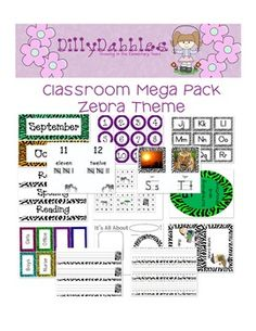 Mega Classroom Pack, Zebra Theme