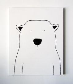 Modern Kids and Nursery Polar Bear Art by adrianeduckworth on Etsy