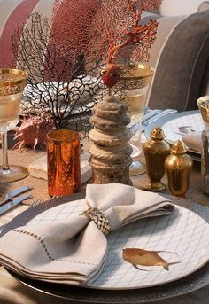 Beautiful sea inspired tablescape featured in Palm Beach Entertaining by Annie Falk