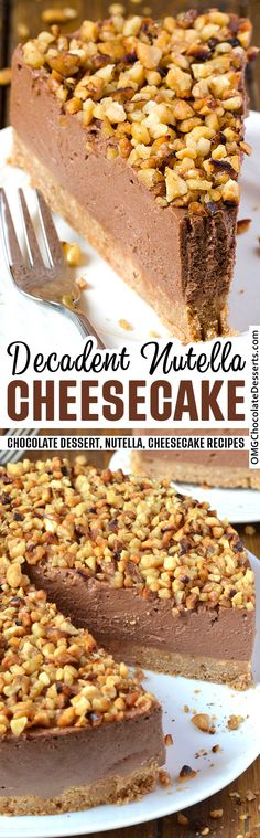 This easy No Bake Nutella Cheesecake is thick, creamy and silky smooth! It's full of dreamy Nutella flavor and it is simple to make.#nobake #nutella #cheesecake Lemon Dessert Recipes, Dump Cake Recipes, Easy Cheesecake Recipes, Cheesecake Desserts, Baking Recipes, Nutella Recipes, Chocolate Chip Cheesecake Bars, Best Chocolate Desserts, Nutella Cheesecake
