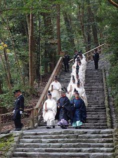 Shinto priests at Ise Jingu, Geku.