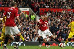 October 2006: Rio Ferdinand scores for United against bitter rivals Liverpool