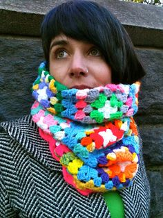 Bright colored crocheted granny cowl recycled from hand-crocheted afghan.