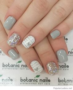 Gray glitter and heart nail art - Gray, white and silver nail art with embellishments. Light and cheery looking nail art with stripes and heart shapes, additional sequins have also been placed on top of the silver glitter polish. Grey Gel Nails, Grey Nail Art, Cute Nail Art, Beautiful Nail Art, Love Nails, Pretty Nails, Acrylic Nails, Pink Nails, Accent Nails
