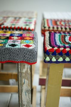 "I love this, Allie!  ""Granny square stools... If I've already pinned this, it's worth pinning again! This is the project I want to work on w my dad after he retires... He repurposes wood into nifty stools, I cover them in granny goodness! :-)"""