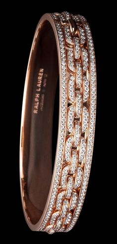 Ralph Lauren 18K rose gold single-chain bangle bracelet with diamonds