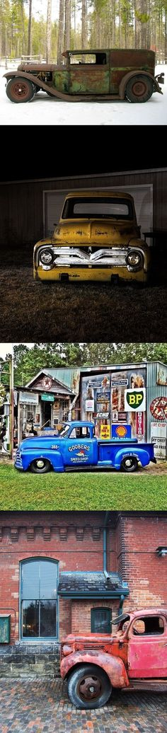 A good ol' boys hangout. Rat Rods, Chevy Trucks, Pickup Trucks, Station Wagon, Classic Trucks, Classic Cars, Panel Truck, Rusty Cars, Abandoned Cars