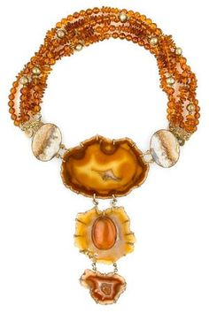 Tony Duquette (American, 1914-1999), Symbolizes Our Oneness With Nature and All Creation', 1990s. An agate slice, lace agate, Baltic amber bead and vermeil necklace with detachable centerpiece, signed Tony Duquette, length 19 1/2in (49.5cm). Sold for $3,416