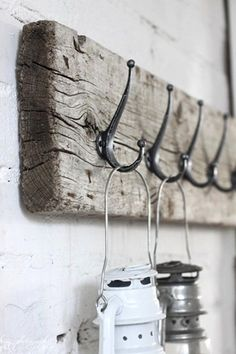 So easy and a good reason to keep weathered wood around. If you live near Kennebunkport, look for hooks at oldhouseparts.com. If not, you can visit their site: oldhouseparts.com. You can always try Restoration Hardware too.
