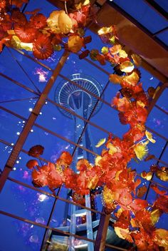 Chihuly Garden and Glass Museum ... Space Needle in Seattle, Washington, USA