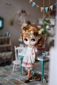 Miss yo Snowflake border two layer dress / inner dress for Blythe doll - doll outfit - Brown