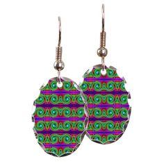 Oval Earrings Colorful Green Abstract Pattern #cafepress #earrings #jewelry
