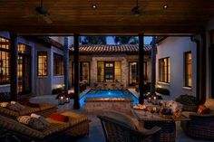 Luv how the house wraps around pool