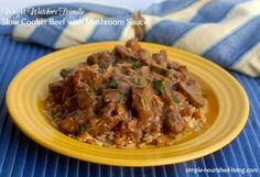 Weight Watchers Freindly Slow Cooker Beef with Mushroom Sauce