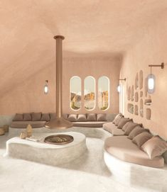 Retro Interior Design, Japanese Interior Design, Interior Design Living Room, Interior Architecture, Interior And Exterior, Deco Spa, Interior Natural, Monsaraz, Greek Design