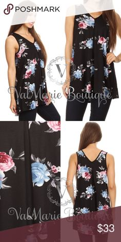 """Black Floral Sleeveless Tunic Top 🇺🇸MADE IN USA- Floral printed, sleeveless long body top in a relaxed fit, with a v-neck, hi-lo hem, and pleats. Stretchy and soft! S(2-4) M(6-8) L(10-12) XL(14-16)  Bust laying flat: S 16.5"""", M 17.5"""", L 19"""", XL 19.5"""" - stretches more   Apprx Length: 29"""" in the front Hi hem. 32"""" in the back low hem.   Content: 95% Rayon, 5% Spandex ValMarie Boutique Tops"""