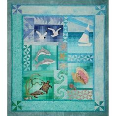 Ocean Quilt, Beach Quilt, Fish Quilt, Baby Quilt Panels, Panel Quilts, Quilt Blocks, Quilting Projects, Quilting Designs, Quilting Ideas
