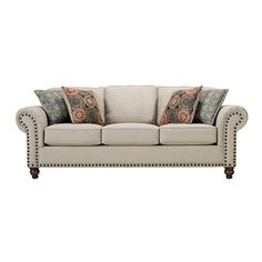 Corliss Sofa ($679) ❤ liked on Polyvore featuring home, furniture, sofas, sofa, nailhead couch, nailhead furniture, roll arm sofa, oversized sofa and nailhead trim sofa
