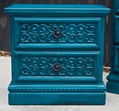 Love love love this! Finally the problem with ugly bedroom furniture is solved!! gorgeous colour : Peacock blue- depending on if i have a grey or peacock blue wall behind bed this is a possibllity if i go with grey wall, i can totally spray paint my tables and dresser