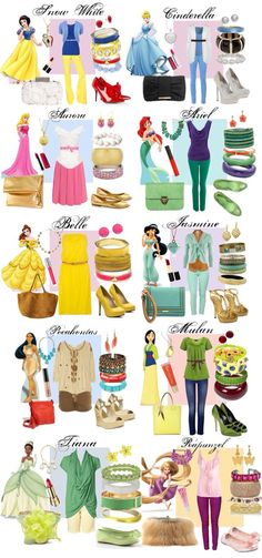 For The Casual Princess Look. Ask Ally what her most favorite princesses are (only and get similar casual child appropriate outfits. Disney Princess Outfits, Cute Disney Outfits, Disney Themed Outfits, Disney Dresses, Disney Fun, Disney Style, Disney Trips, Disney Bound Outfits Casual, Casual Outfits