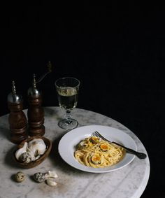 Garlic spaghettini with quail eggs by Marte Marie Forsberg