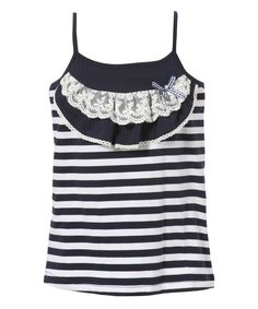 Another great find on #zulily! Blue Stripe Lace Tank - Infant, Toddler & Girls by Richie House #zulilyfinds
