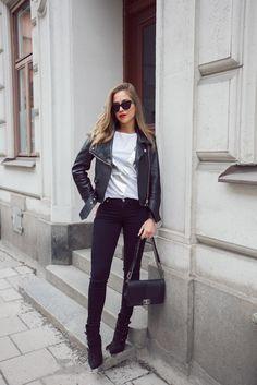Kenza Zouiten - leather jacket, chanel boy bag http://FashionCognoscente.blogspot.com
