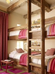 Beautiful bunk bed room. Perfect for teen girls and friends! I could build that