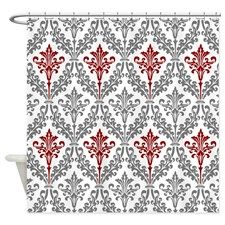 mod and elegant red and gray damask Shower Curtain